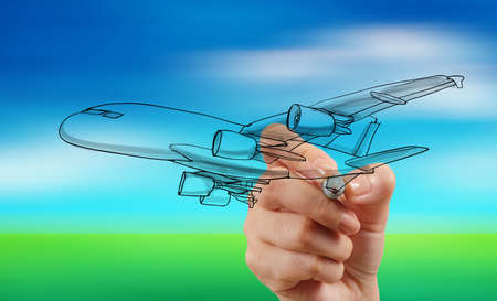 hand drawing airplane on blur blue sky background Reklamní fotografie