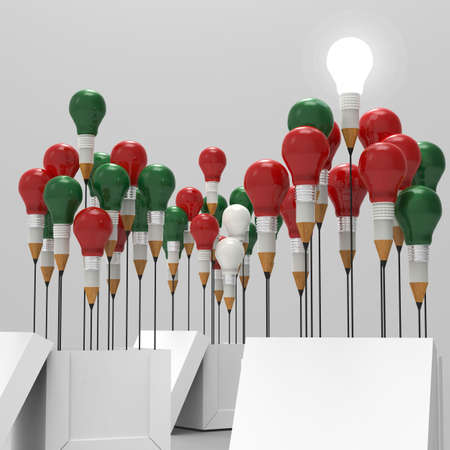 christmas bulbs: pencil light bulb 3d as think outside of the box and merrys christmas as concept