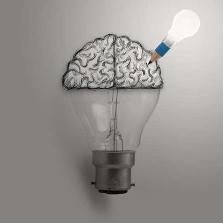 creative design: Light bulb with hand drawn brain as creative idea concept