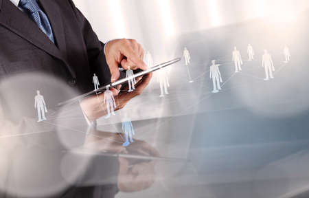 businessman working with new modern computer show social network structure as concept Imagens