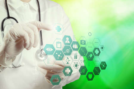 Double exposure of smart medical doctor working with nature background as concept photo
