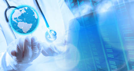 Double exposure of smart medical doctor holding the world in operating room as concept photo