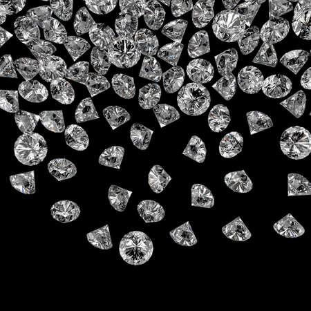 crystalline gold: Diamonds 3d composition on black background Stock Photo