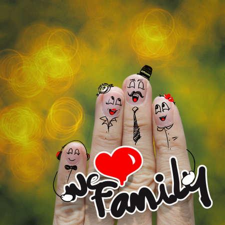 el dedo familia feliz celebración amamos palabra familia