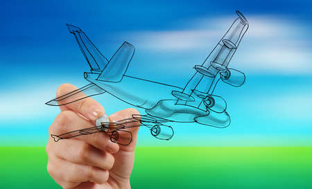 air cargo: hand drawing airplane on blur blue sky background Stock Photo