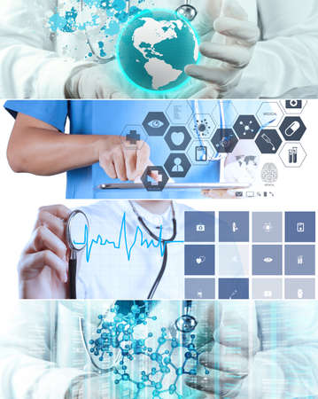 doctor computer: Collage of Various modern medical concept
