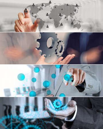 dirección empresarial: Collage de la estrategia de negocio de la fotografía como concepto Foto de archivo