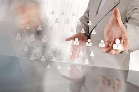Geschäftsmann Hand wählen Menschen Symbol als Personalkonzept Standard-Bild