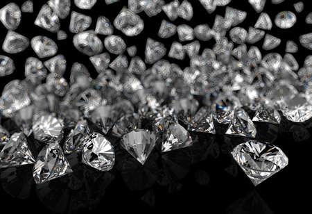 검은 표면 배경에 다이아몬드