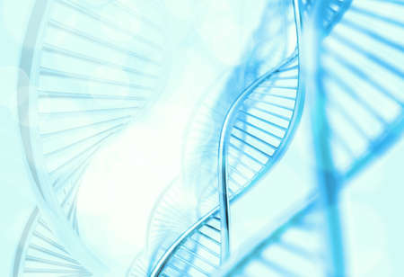 raytrace: Abstract molecules medical blue background