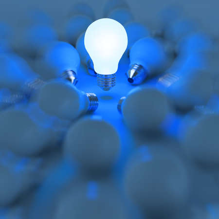 unlit: 3d growing light bulb standing out from the unlit incandescent bulbs as leadership concept