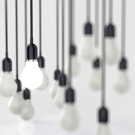 creative idea and leadership concept light bulb 3d design photo