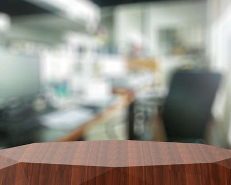 counter top: Empty abstract  wooden shelf and blurred background for product presentation