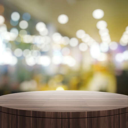matt: Empty wooden round table and blurred background for product presentation Stock Photo
