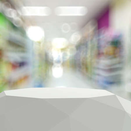 matt: Empty abstract  laminate shelf and blurred background for product presentation