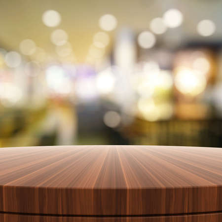 tabletop: Empty wooden round table and blurred background for product presentation Stock Photo
