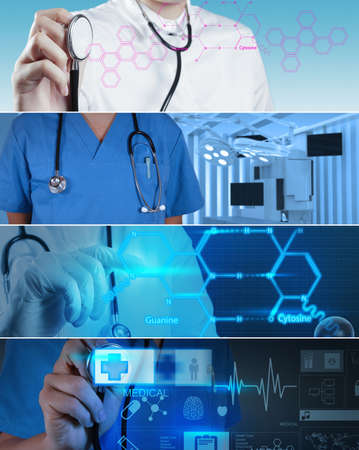 Collage of Various modern medical concept photo