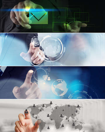 Collage of photo business strategy as concept photo