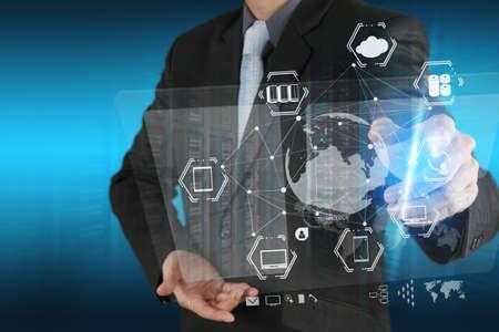 network server: businessman shows modern technology as concept