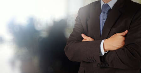 stockholder: businessman success with his office  background as concept Stock Photo