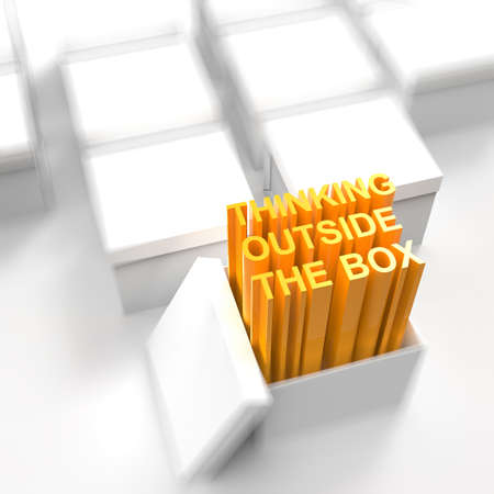 outside the box thinking: 3d open box with extrude text as thinking outside the box concept