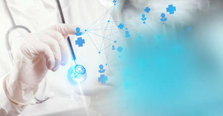 smart medical doctor hand showing network with operating room as concept photo
