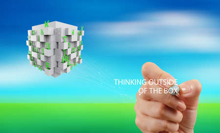 puzzling: hand drawing word thinking outside the box as concept Stock Photo