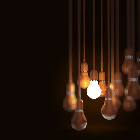 3D 오렌지 전구 창의적인 아이디어와 리더십 개념
