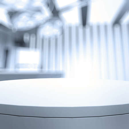 Lege tafel en onscherpe achtergrond voor medische productpresentatie Stockfoto