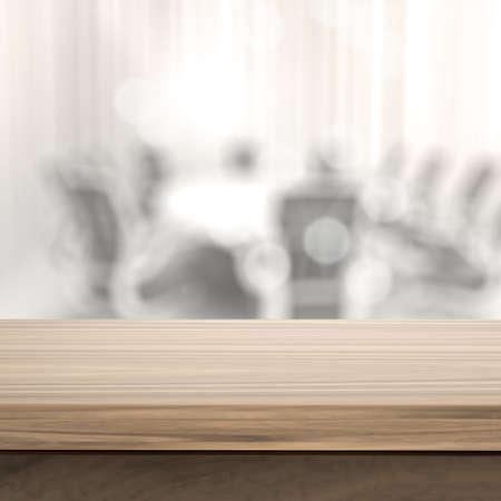 wooden desk: Lege tafel en onscherpe achtergrond voor het bedrijfsleven productpresentatie