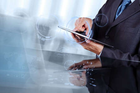 businessman working with  modern technology as concept photo