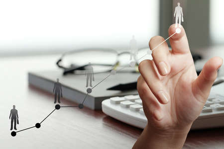 close up of hand working with new modern computer and business strategy leader as concept photo