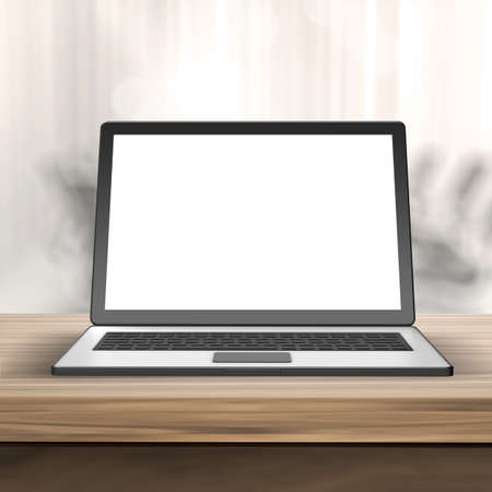 computer table: Laptop with blank screen on wood table and blurred  background