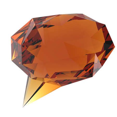 low glass: low poly geometric speech bubble on white background Stock Photo