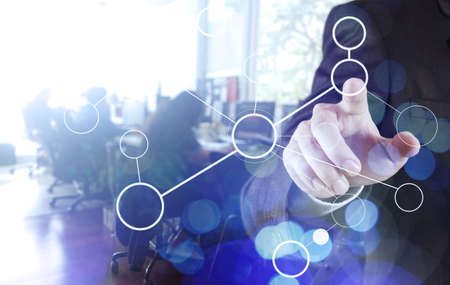 double exposure of businessman working with blank net work diagram as digital cloud concept 版權商用圖片