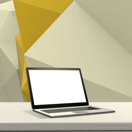 laminate: Laptop with blank screen on laminate table and low poly geometric  background Stock Photo