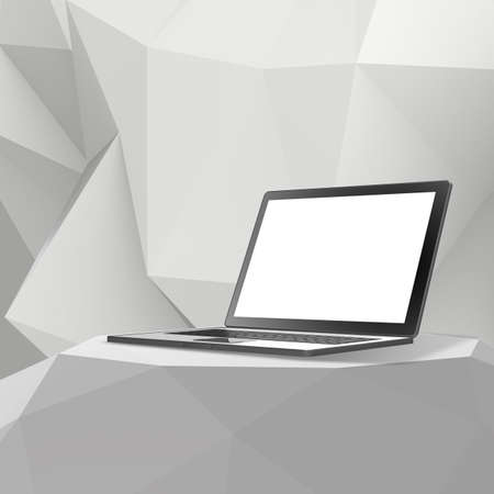 laminate: Laptop with blank screen on Empty abstract laminate shelf and low poly geometric background