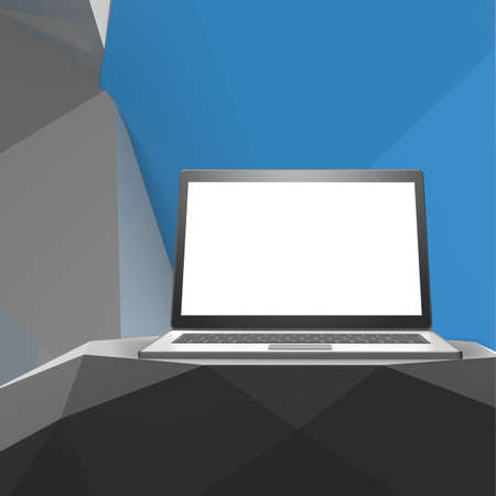 laminated: Laptop with blank screen on laminate table and low poly geometric  background Stock Photo