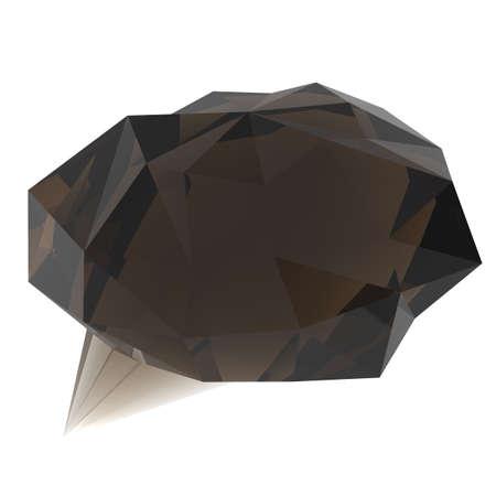 triangular shape: low poly geometric speech bubble on white background Stock Photo