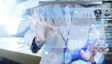 group search: double exposure of businessman working with blank net work diagram as digital cloud concept Stock Photo