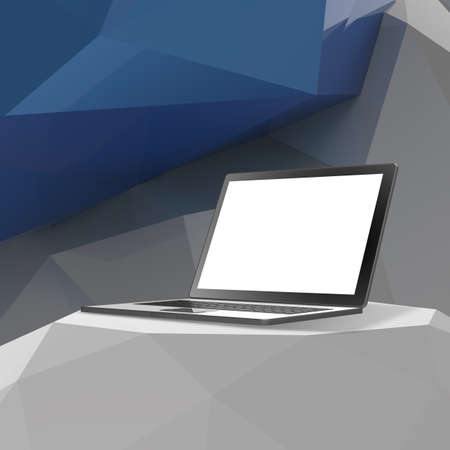laminate: Laptop with blank screen on laminate table and low poly geometric background