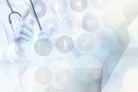 double exposure of success smart medical doctor working with abstract blurry bokeh and low polygon  background as concept Standard-Bild