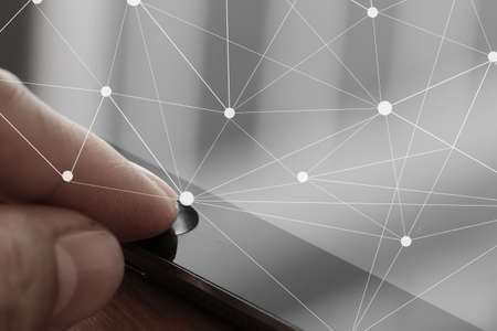 penfriend: close up of businessman finger use tablet computer with virtual social media diagram as concept