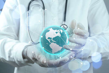 smart medical doctor hand showing network with bokeh exposure as medical network and media concept