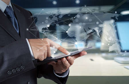 world of technology: businessman working with new modern computer show social network structure as concept Stock Photo