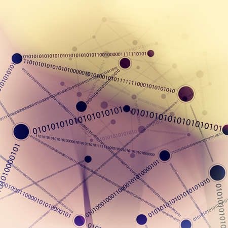 network diagram: Abstract low poly geometric with social media network diagram background Stock Photo