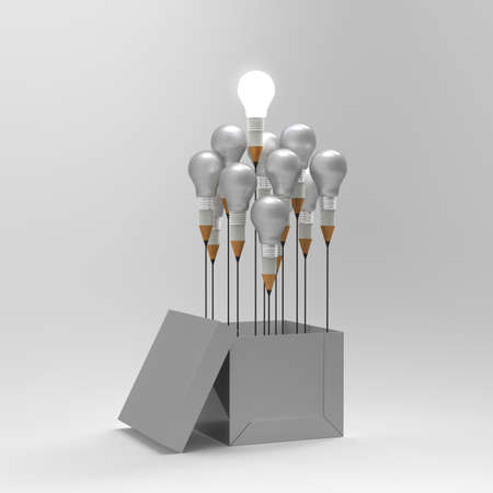 d: drawing idea pencil and light bulb concept outside the box as creative and leadership concept