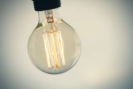 close up of vintage light bulb as creative concept Stock Photo