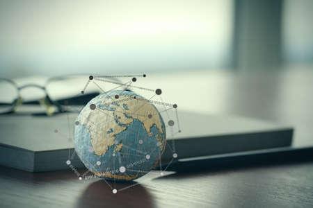 wereldbol: handgetekende textuur wereld met lege sociale media diagram op digitale tablet-computer als internet concept