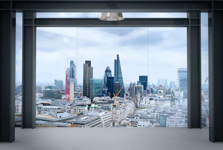 urban apartment: interior space of modern empty office interior with london city  Stock Photo